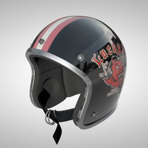 3d model of old school helmet