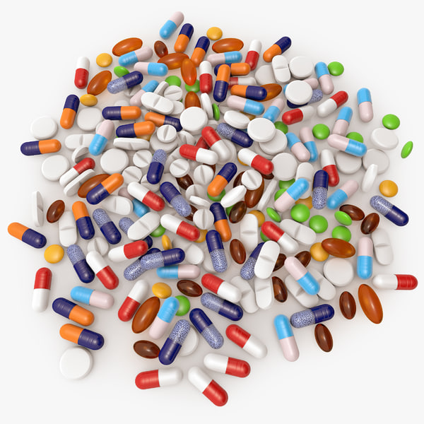 3d pills modeled pile