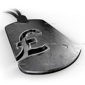 obj pound symbol pendant