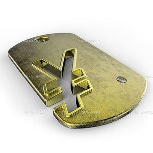 3d model yen symbol pendant
