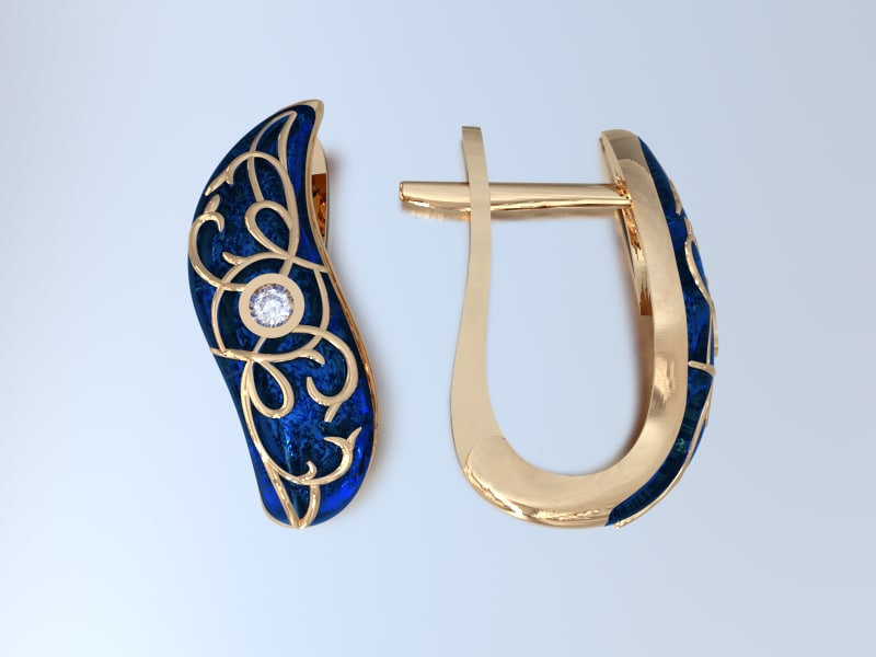 3d model enamel earrings 2