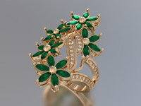 3d ring emerald flowers