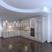 3d classical kitchen furniture interior