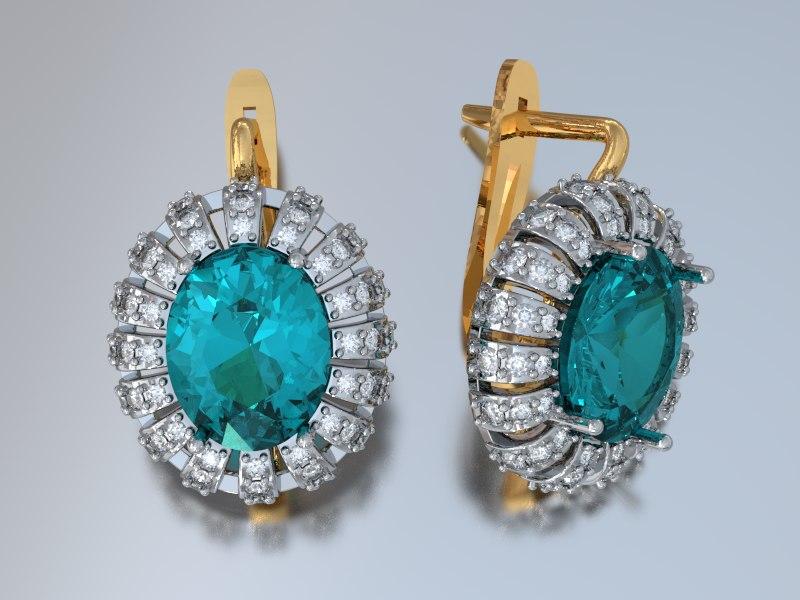 oval earrings 3ds