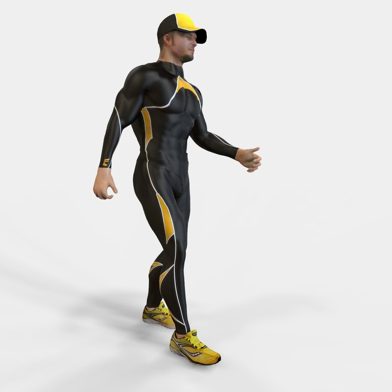 3d model athlete man rigged