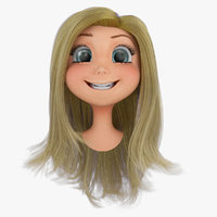 3d model of rigged cartoon girls head