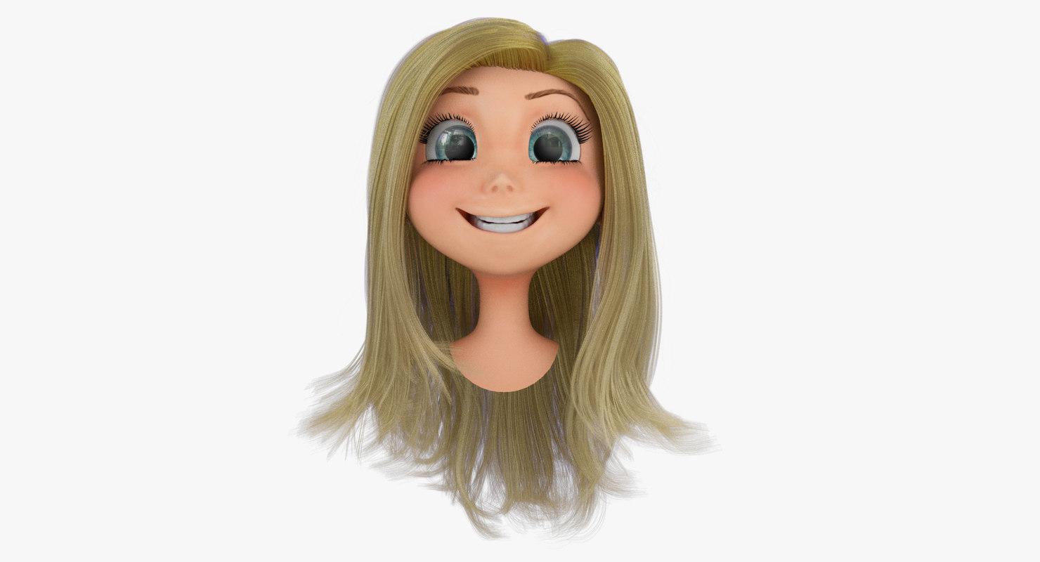3d model of rigged cartoon girls head