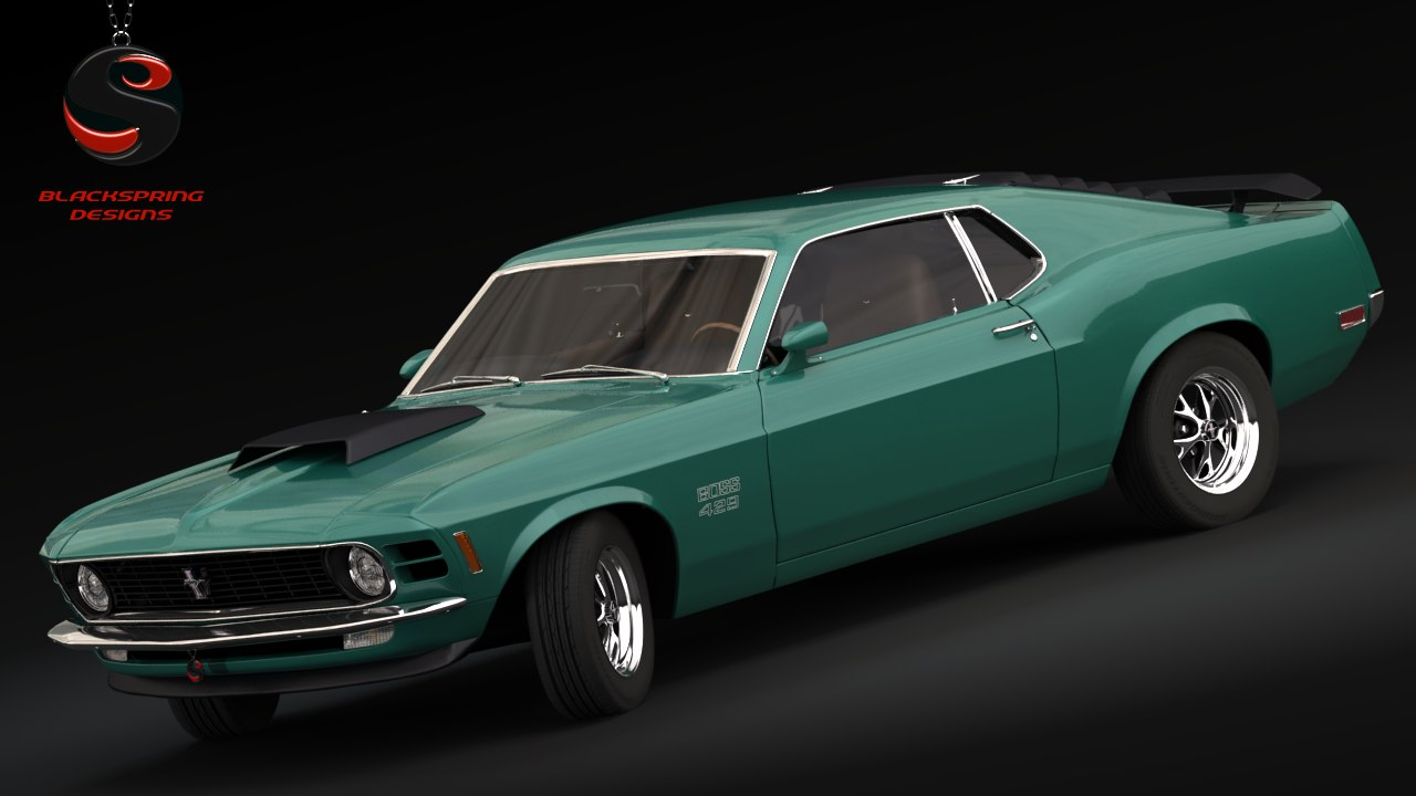3d mustang boss 429 1970 model