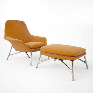 3d minotti prince armchair stool