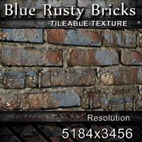 Blue Rusty Bricks Texture