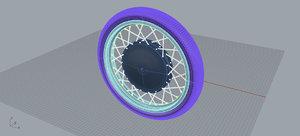 motorcycle wheel obj
