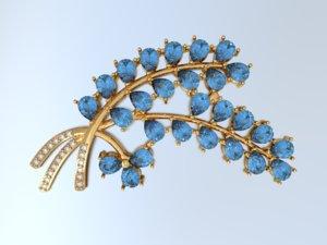 3d model golden branch pin gold silver