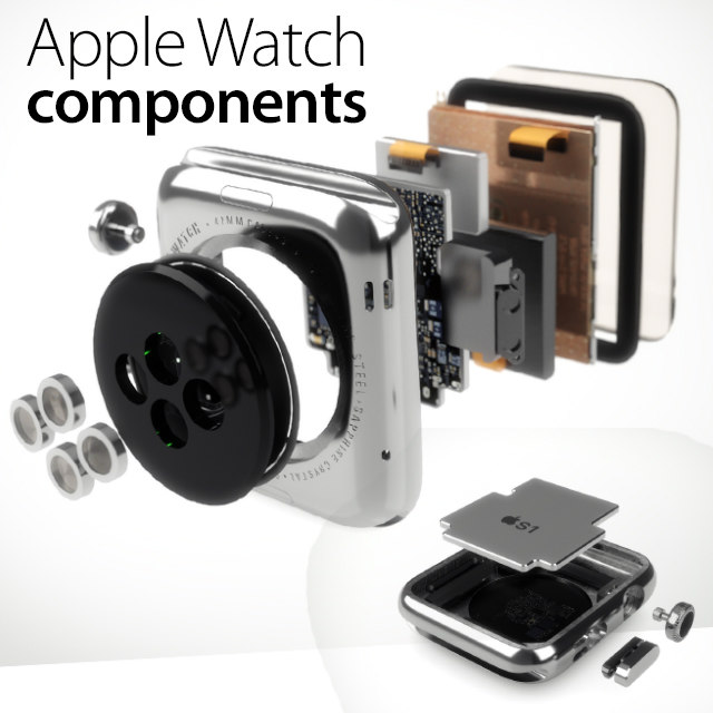 3d apple watch components model