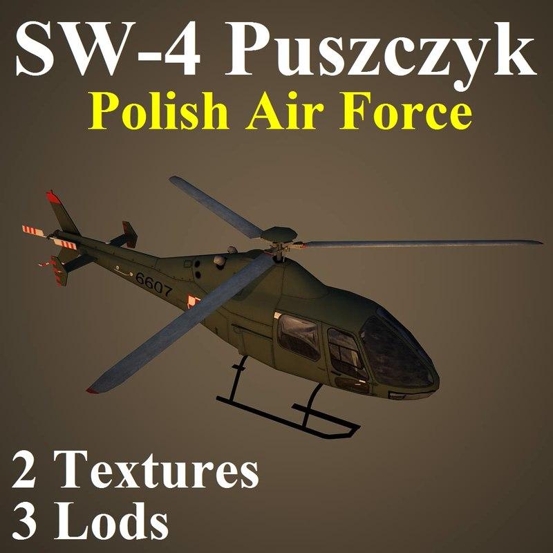3d model pzl plf helicopter
