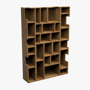 bookcase wood 3d dxf