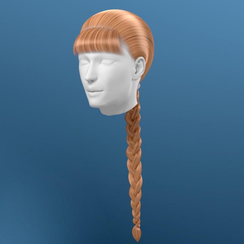 3d model hair braid