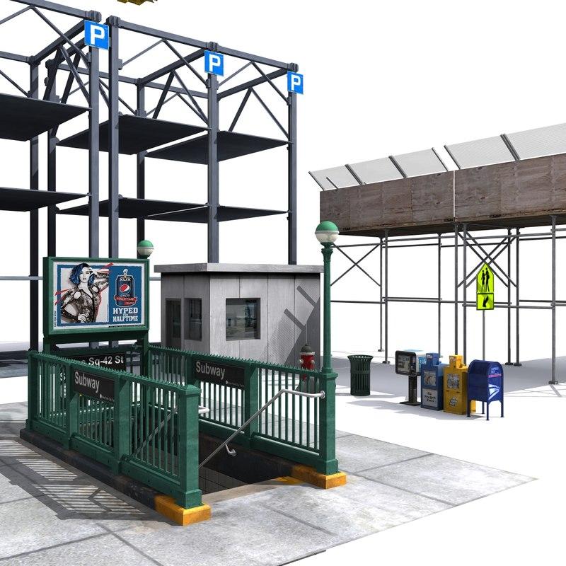 newyork street elements 2 3d model