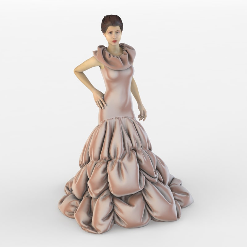 3d evening dress