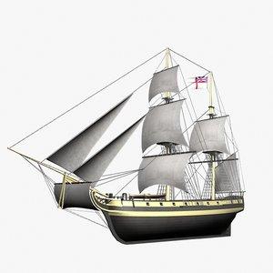 ketch - bombardment ship 3d lwo
