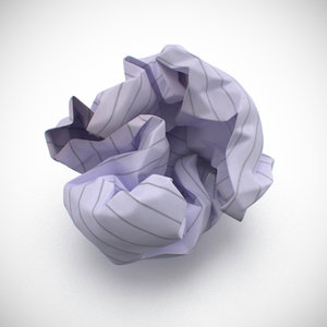 3d model crumpled ball paper