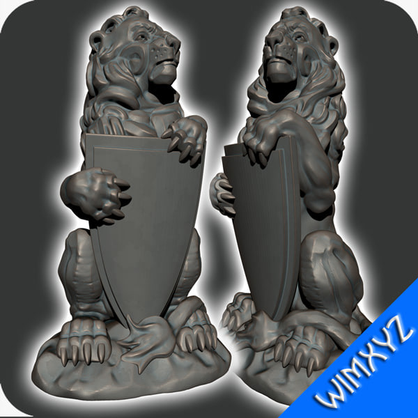 3d model of lion statue cat