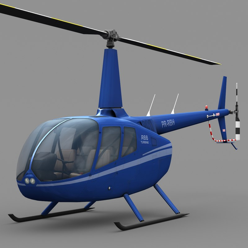 low-poly robinson r66 3d max