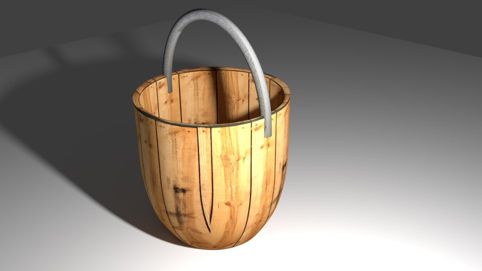 free 3ds model wood bucket