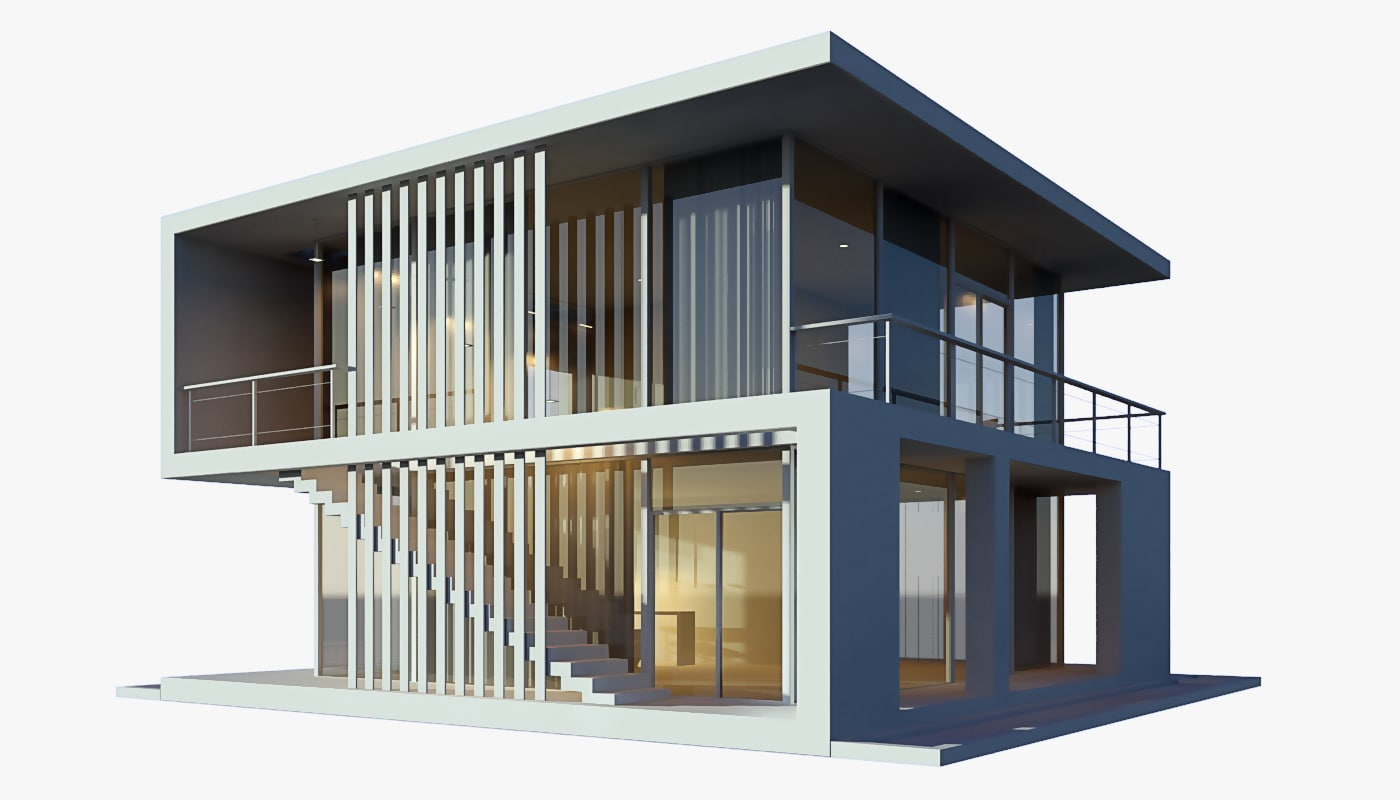 3d modern beach house model for Contemporary model house