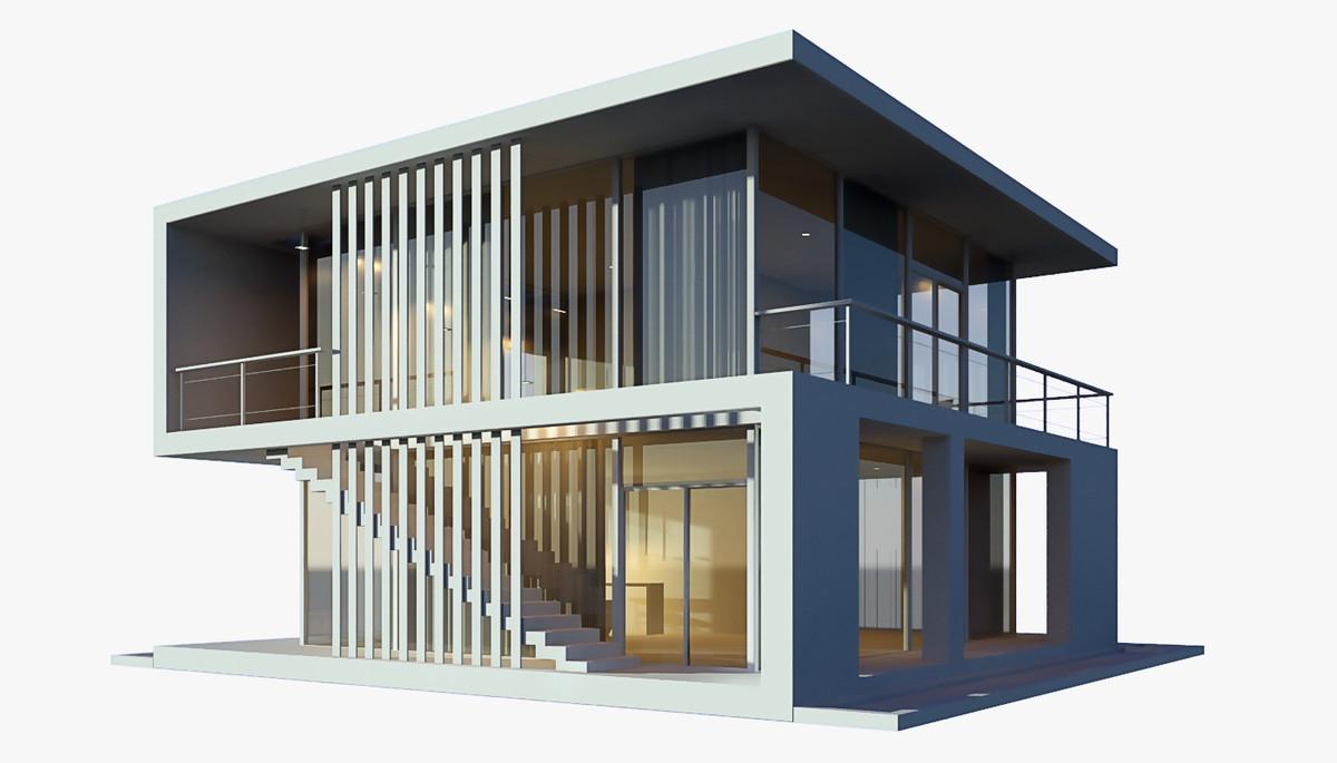 3d modern beach house model
