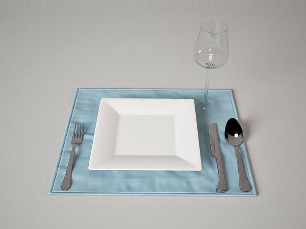 3d tableware set royal 1 model