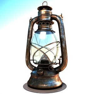 3d oil lamp old