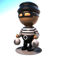 3d cartoon thief character