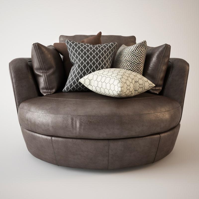 3d armchair snuggle leather