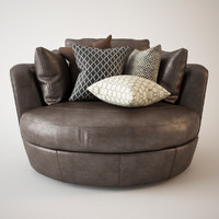 3d armchair snuggle leather