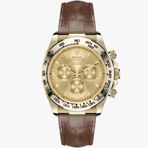 rolex daytona gold dial 3d model