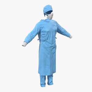 3d model surgeon dress 10 modeled