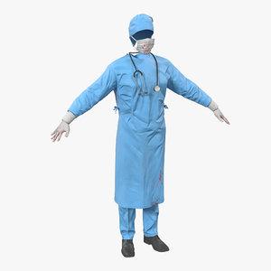 3d model surgeon dress blood 9