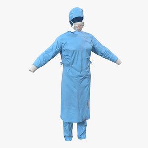 3d model surgeon dress 10 blood