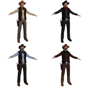 pack cowboy hat 3d obj