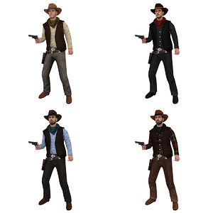 3d model pack rigged cowboy hat
