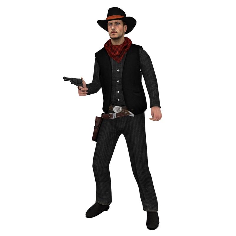 rigged cowboy hat 3d max