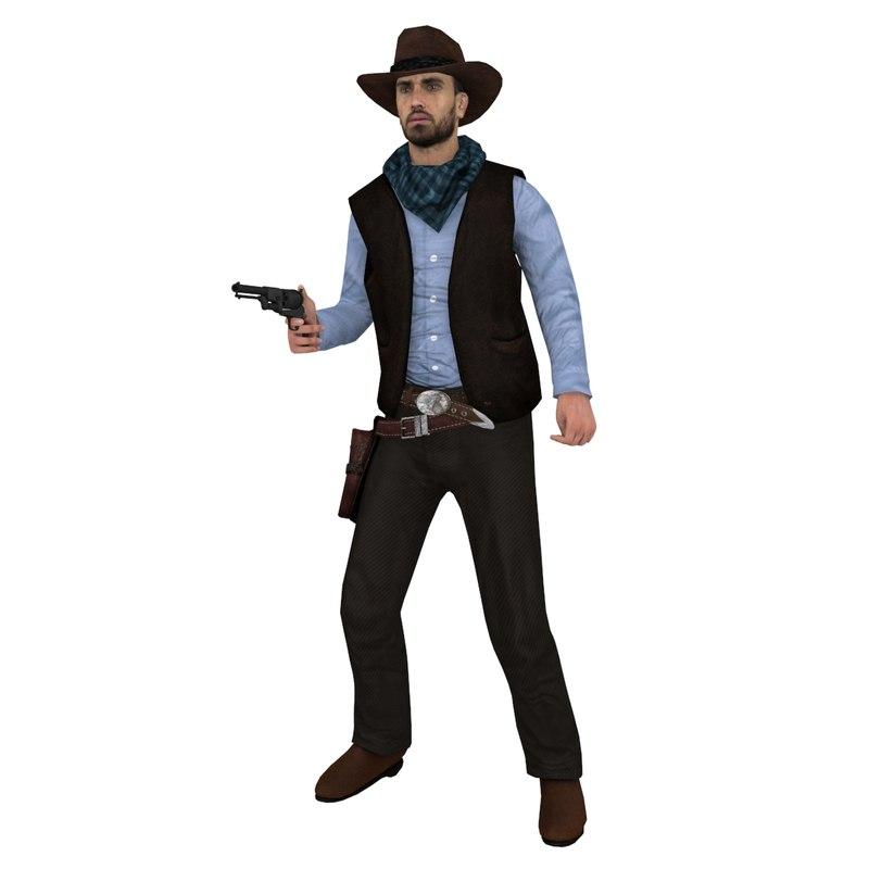 3d max rigged cowboy hat 3