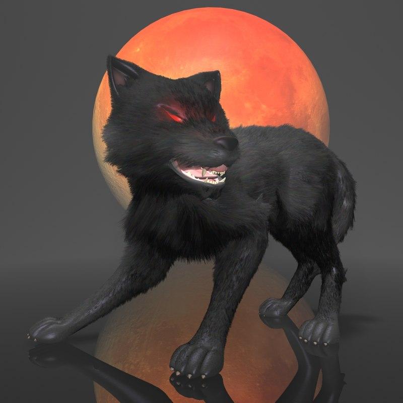 3d model of dark wolf rigged