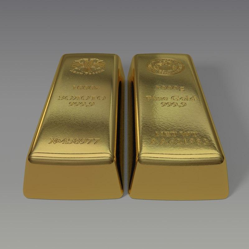 3d 3ds gold bar