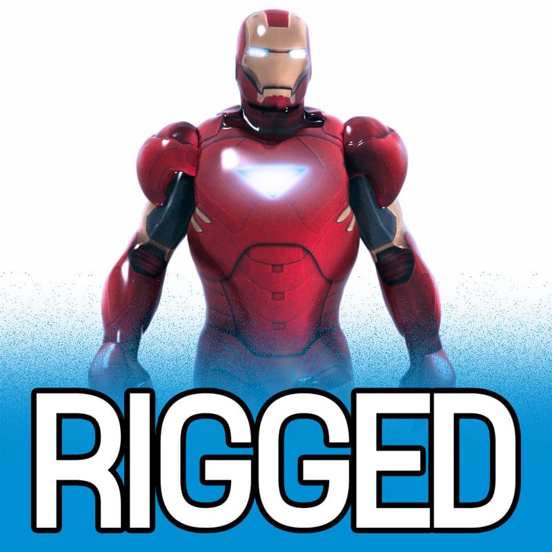 3ds max rigged iron man
