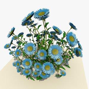 3d blue daisy flowers