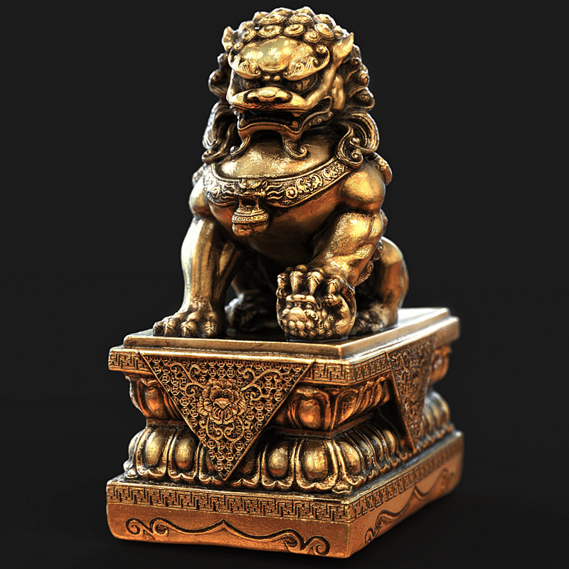 gold lion statue 3d obj