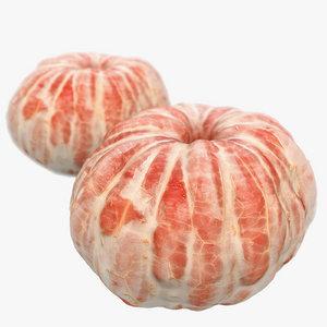 3d model peeled tangerine scanned polys