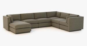 sofa baker sectional 3d 3ds