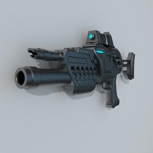 sci-fi rifle 3d c4d